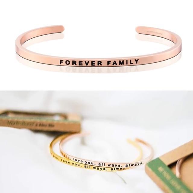 【MANTRABAND】美國悄悄話手環 FOREVER FAMILY 永遠的家人 玫瑰金(悄悄話手環)物超所值