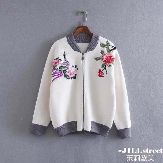 【茱莉歐美#JILLSTREET】孔雀梅花刺繡針織外套-F(黑/白)優質推薦