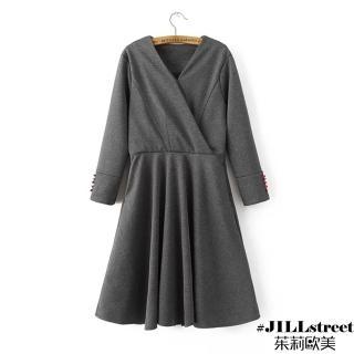 【茱莉歐美#JILLSTREET】純色V領修身連衣裙-M/L(灰)
