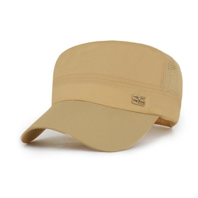 【活力揚邑】防曬涼感速乾吸濕排汗潮流軍帽平頂帽-陽光米