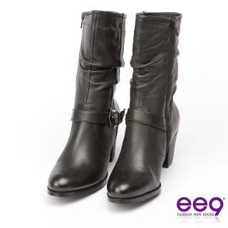 【ee9】經典手工-率性風格手工抓皺金屬扣環百搭粗跟中筒靴-黑色(中筒靴)