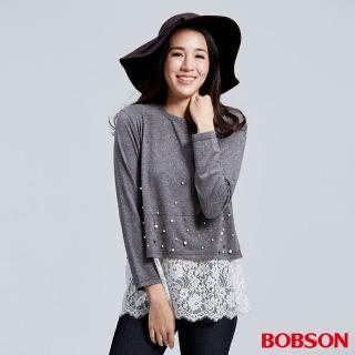 【BOBSON】女款珠珠蕾絲寬版上衣(灰36083-86)