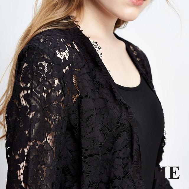 【ICHE 衣哲】3D透視蕾絲拼接針織外套哪裡買?