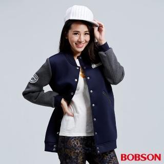 【BOBSON】女款太空布長版棒球外套(藍36106-53)