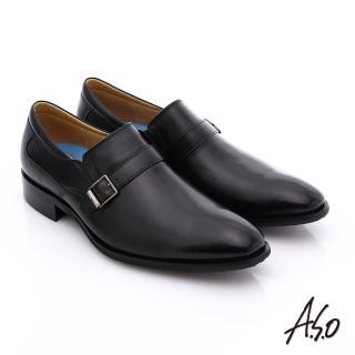 【A.S.O】菁英通勤 小牛皮飾帶奈米紳士皮鞋(黑)