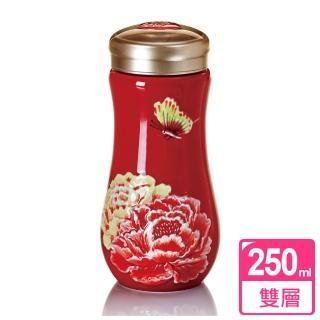 【乾唐軒活瓷】盛世牡丹隨身杯 / 紅彩 / 大 / 雙層