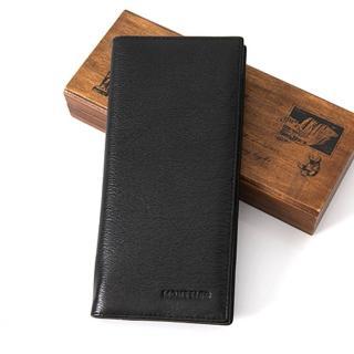 皮夾 簡約素面壓紋質感Logo真皮長皮夾錢包 實用CP值高 水波紋皮革(玖飾時尚)