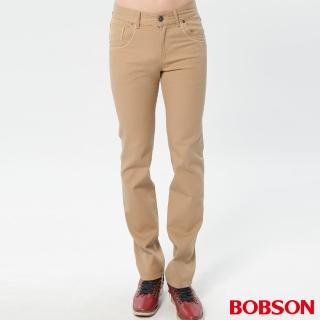 【BOBSON】男款低腰繡花彈性直筒褲(咖1800-72)