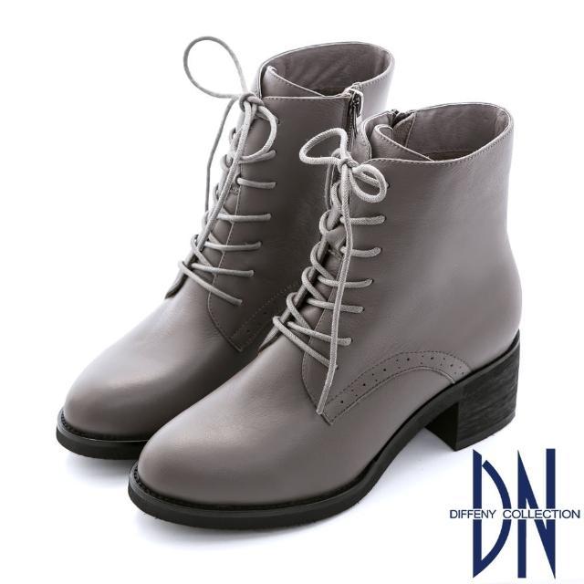 【DN】英倫時髦  簡約個性綁帶毛裡中筒靴(灰)