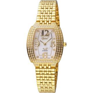 【愛其華 Ogival】經典酒桶型時尚腕錶(3872DLK 金色 26x29mm)