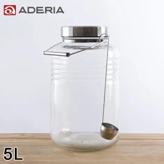 【ADERIA】日本進口時尚玻璃梅酒瓶附勺子5L(醃漬 梅酒 日本製)