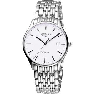 【LONGINES】浪琴 Lyre 琴韻經典機械腕錶-白x銀/38mm(L49604126)