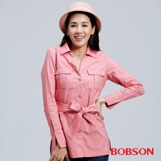 【BOBSON】女款牛津布長版襯衫(粉36121-13)
