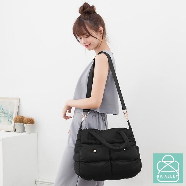 【89.Alley】空氣包 側背包 防潑水兩用雙口袋媽媽包(2色)