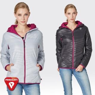 【SAMLIX山力士】PRIMALOFT女輕量化防潑水保暖外套#36915(灰紫.黑紫)