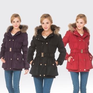【SAMLIX山力士】JIS90%女防潑水保暖羽絨外套#37713(黑色.紫色.紅色)