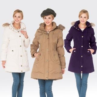 【SAMLIX山力士】JIS90%女防潑水保暖羽絨大衣外套#32911(卡其.白色.紫色)