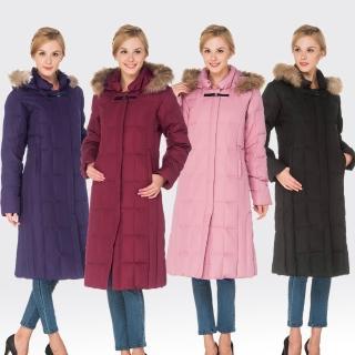 【SAMLIX山力士】JIS90%女防潑水羽絨保暖大衣外套#1051(紅紫.黑色.深紫.粉紅)