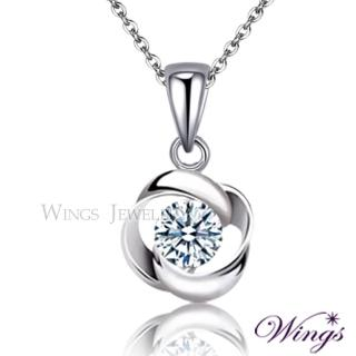 【WINGS】幾何時尚 進口方晶鋯石精鍍白K金項鍊 聖誕(吊墜 頸鍊)