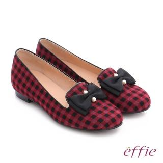 【effie】都會舒適 全真皮豔彩格紋拼接珍珠蝴蝶低跟鞋(紫紅)