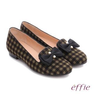 【effie】都會舒適 全真皮豔彩格紋拼接珍珠蝴蝶低跟鞋(橄欖綠)