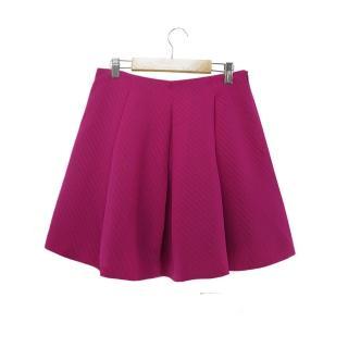 【ICHE 衣哲】打摺造型百搭紫圓短裙