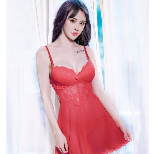 【久慕雅黛】美腰裸背蕾絲薄紗睡衣(紅色)