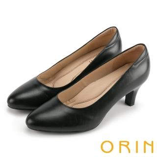 【ORIN】典雅輕熟OL 嚴選牛皮素面百搭中跟鞋(黑色)