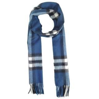 【BURBERRY】經典格紋100% 喀什米爾羊毛圍巾(海軍藍)