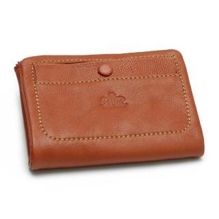 【2R】溫柔鬆軟Leather羊皮短夾 愛瑪橘