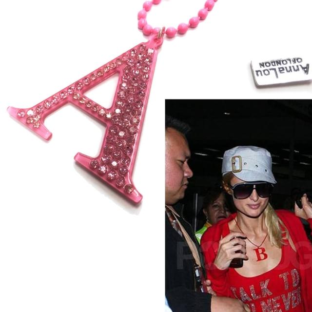 【Anna Lou Of London】倫敦品牌 水晶字母項鍊 A 粉紅色(絕版品 售完不補)