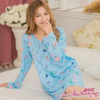 【I-meteor日系】任選PA3180全尺碼-棉質小茶具插畫長袖連身裙洋裝睡衣(清新藍)
