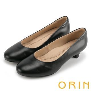 【ORIN】簡約時尚OL 素面牛皮百搭素面低跟鞋(黑色)