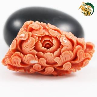 【金玉滿堂】花開富貴天然MOMO紅珊瑚雕件(小)