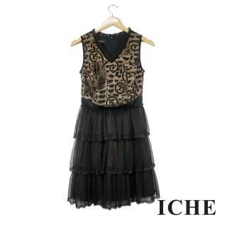 【ICHE 衣哲】提花蕾絲拼接蛋糕疊層造型洋裝