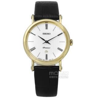 【SEIKO 精工】Premier 古羅馬革新藍寶石水晶牛皮手錶 銀x金框x黑 30mm(7N89-0AY0K.SXB432J1)