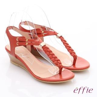 【effie】個性涼夏 Y字麻花鬆緊帶小坡跟涼鞋(橘)