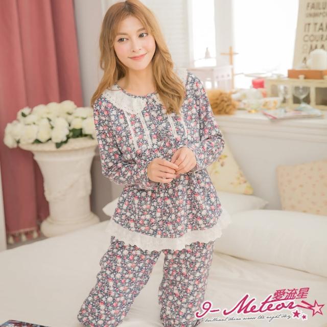 【I-meteor日系】PA3091全尺碼-印花布蕾絲棉質長袖二件式睡衣組(優雅深藍)
