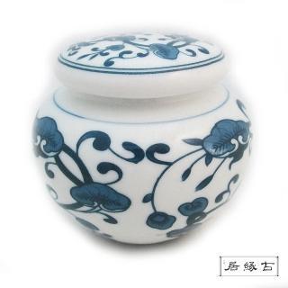 【古緣居_12H】青花三兩手繪茶葉罐(靈芝)