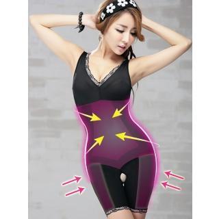 【Threeshape】3S美體560D雙層強塑連身長管束衣(晶鑽黑 M-Q)