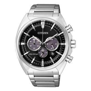 【CITIZEN 星辰】沉穩內斂光動能三眼計時腕錶-黑/45mm(CA4280-53E)