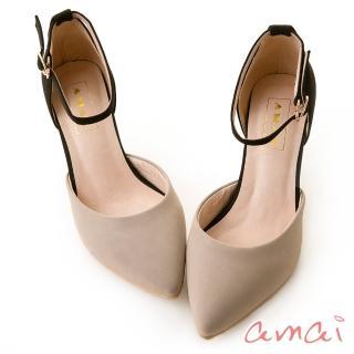 【amai】撞色尖頭側空繫帶低跟鞋(灰)