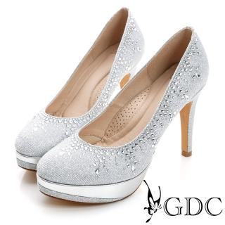 【GDC】幸福婚鞋-色彩水鑽防水台真皮高跟鞋-銀色(517132)