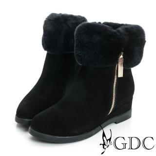 【GDC】真毛-毛毛環繞拉鍊楔型真皮中筒雪靴-黑色(628504)