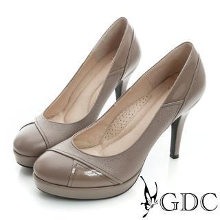 【GDC】都會-細格紋幾何拼接真皮高跟鞋-紫色(627144)