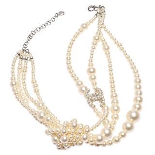 【CHANEL】經典珍珠鑲嵌CC LOGO大小珍珠結造型多層項鍊(金43728-OR)