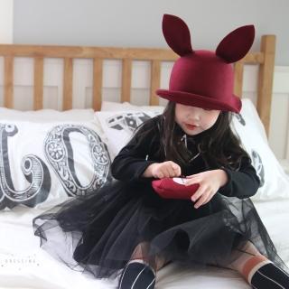 【韓國 Mini Dressing】兒童造型帽_酒紅兔耳朵紳士帽(MDH006)