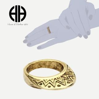【House of Harlow 1960】好萊塢品牌 復古刻紋飾邊 立體半圓形 鷹族金色戒指(鷹族戒指)