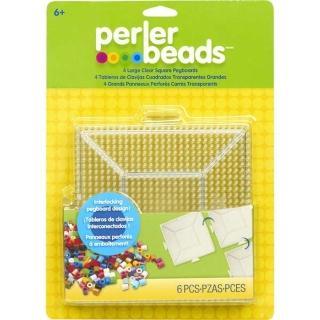 【Perler 拼拼豆豆】四入透明大正方形模型板組合(可銜接-超值必買組)