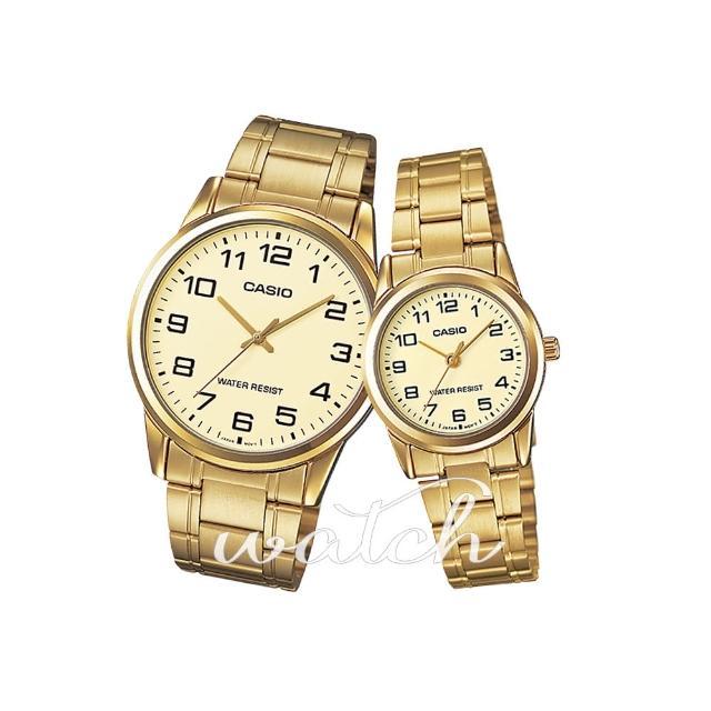 【CASIO 卡西歐 對錶系列】情侶首選_不鏽鋼錶帶_指針_情人對錶(MTP-V001G+LTP-V001G)